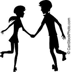coppia, pattinando, felice