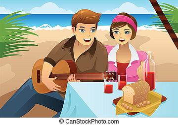 coppia, picnic, detenere