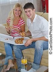 coppia, pizza, mangiare, casa