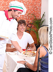 coppia, pizza, mangiare, giovane, ristorante