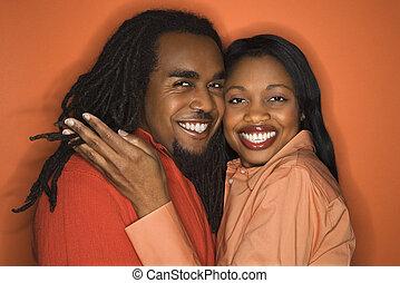 coppia, portrait., felice