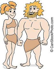 coppia, preistorico, abitante caverna