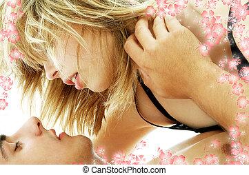 coppia, preliminari amorosi, con, fiori, #3