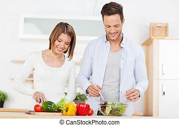 coppia, preparare, insalata, cucina