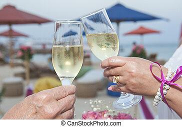 coppia, presa a terra, matrimonio, paio, bicchieri champagne