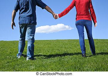coppia, presa porge, e, camminare, su, uno, erba verde, a, il, orizzonte