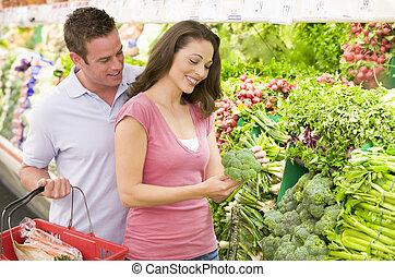 coppia, produrre, shopping, sezione