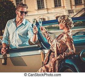 coppia, ricco, convertibile, champagne, classico