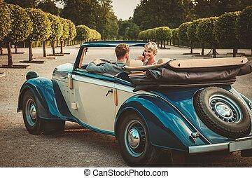 coppia, ricco, convertibile, classico