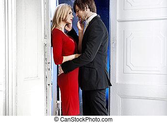 coppia romantica, durante, giorno valentine
