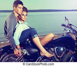 coppia romantica, famiglia, rimanendo, riva lago, -,...