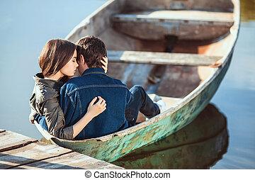coppia romantica, lago, piccolo, barca remi, felice