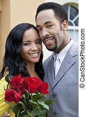 coppia romantica, rose, americano, africano, mazzo