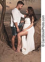 coppia romantica, tramonto, th, durante, spiaggia