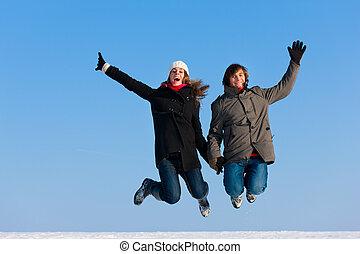 coppia, saltare, inverno, giorno