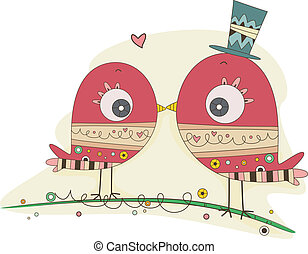 coppia, scarabocchiare, uccelli