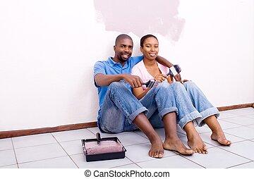coppia, secondo, pittura, rilassante