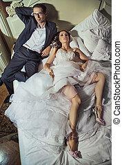 coppia, secondo, ricezione, matrimonio, lieto, felice