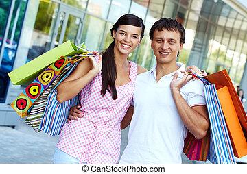 coppia, secondo, shopping