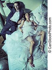 coppia, secondo, stanco, ricezione, matrimonio
