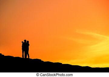 coppia, selfie, silhouette