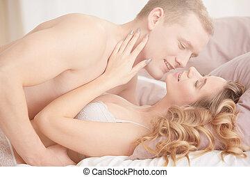 coppia, sesso ha, in, camera letto