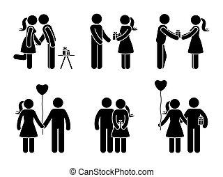 coppia, set, regalo, figura, bastone