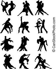 coppia, set, silhouette, ballo