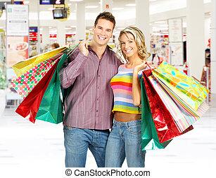 coppia, shopping