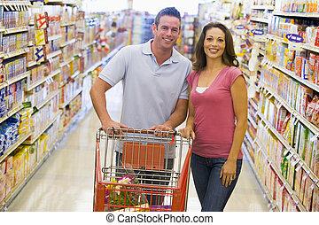 coppia, shopping, giovane, drogheria