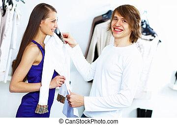 coppia, shopping, giovane, insieme