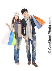 coppia, shopping, insieme, felice
