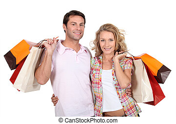 coppia, shopping, insieme