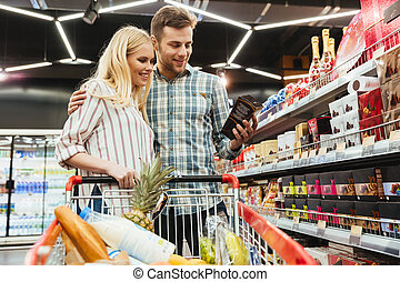 coppia, shopping, supermercato