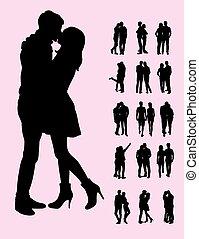 coppia, silhouette, bacio