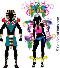 coppia, silhouette, carnevale, colorito