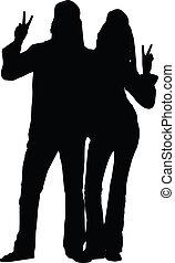 coppia, silhouette, hippie