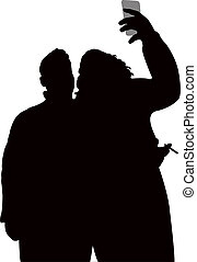 coppia, silhouette, presa, selfie
