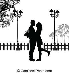 coppia, silhouette, romantico