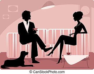 coppia, silhouette