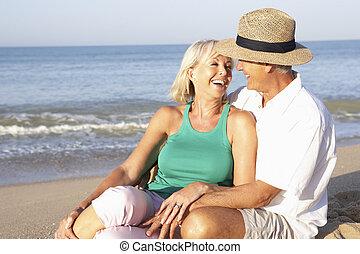 coppia, spiaggia, anziano, rilassante, seduta