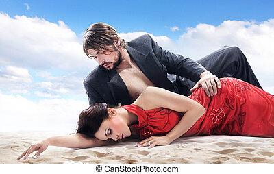 coppia, spiaggia, attraente