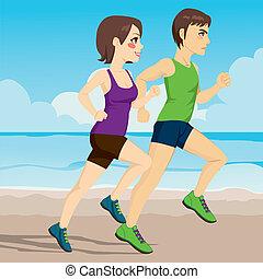 coppia, spiaggia, correndo