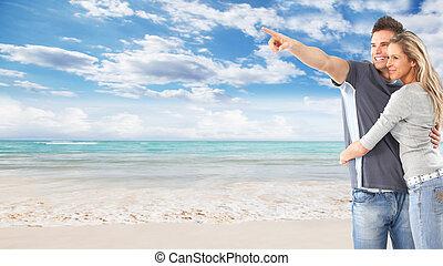 coppia, spiaggia., felice