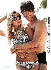 coppia, spiaggia, giovane, attraente