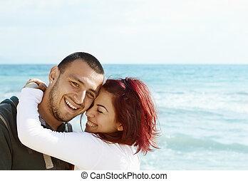 coppia, spiaggia, giovane, turco