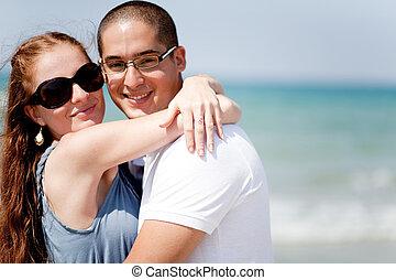 coppia, spiaggia, insieme, amare