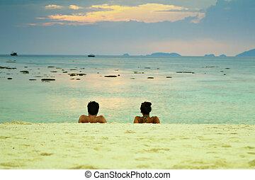 coppia, spiaggia, osservare, sunset.