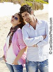 coppia, spiaggia., turco