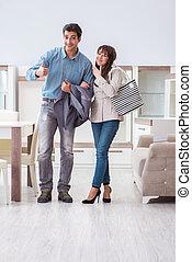 coppia sposata, in, il, negozio, scegliere, mobilia